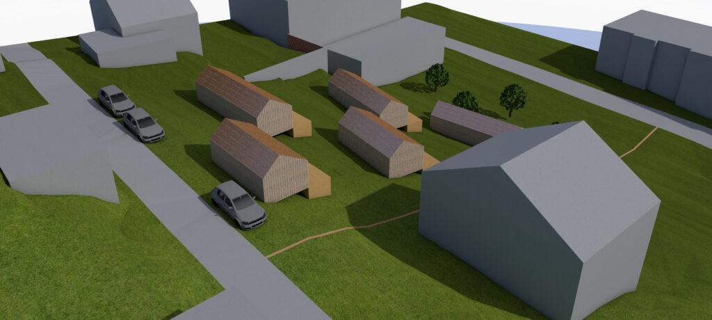 Webseite Rendering Rotenwies Nordansicht Tiny House Siedlung 1 von 1